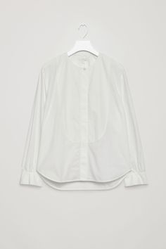 COS image 2 of Boxy shirt with bib front in Ivory