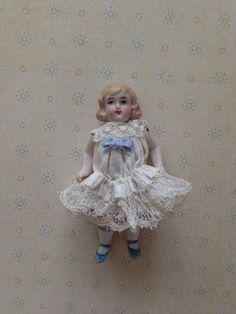 Antique Vintage All Bisque Dollhouse Doll on Etsy, $79.00