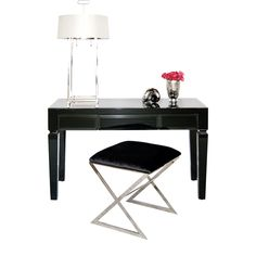 """JACKLYN BL - Black Glass beveled 3 drawer desk. All drawers on glides. Height to bottom of drawer from floor: 23.5""""."""