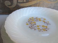 Vintage Autumn Yellow and Brown Flower Milk Glass by corrnucopia, $26.00