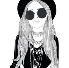 #Girl #Cross #Choker #Sunglasses #Hat #Drawing #Art