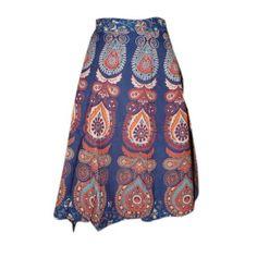 Amazon.com: Indian Wrap Around Skirt Indie Retro Blue Barmeri Print Cotton Wrap Skirt: Clothing