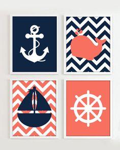 Nautical Prints Navy and Coral set of 4 8x10 JPG by PrincessSnap