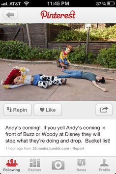 "Update on why (NOW) Woody, Jessie, and Buzz DO NOT drop to the ground when you yell ""Andy is coming"".  Makes me sad, but it's understandable.  So, don't be those people."