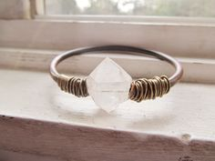 Real Gauged Earrings Wire Wrap Crystal by daniellerosebean on Etsy