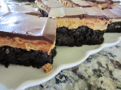 Buckeye Brownies- so good, but so rich! Made for Tesia's birthday in 2013. You'll need milk!