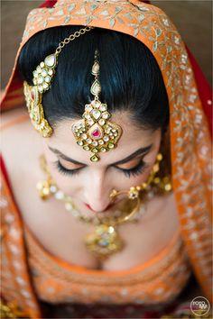 Maang Tikkas and Jhoomers - Gold Maangtikka and Jhoomer with Polki, Meenakari work and Ruby Stones | WedMeGood #wedmegood #wedding #jewelry #jhoomer #maangtikka