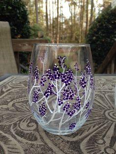 Purple blossom stemless wine glass set of 2 by HandmadeCraftsbyK
