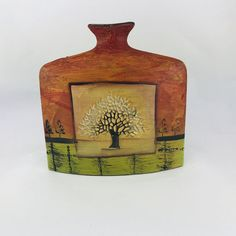 Rectangular Pottery Vase , Pottery Water Bottle , Decorative Vase, Mid Century Rare Yellow Green Brown Water Bowl ,Unique Christmas Gift  This great piece can be perfect decor for your table or unique gift for mom and grandmom , Christmas gift for her  Very good condition Dimensions; Height: 9.44 Unique Gifts For Mom, Unique Christmas Gifts, Hand Painted Pottery, Pottery Vase, Bottle Vase, Water Bottle, Keramik Vase, Ceramic Decor, Wooden Jewelry