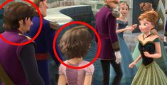 2.) Flynn Rider and Rapunzel make an appearance at Elsa's coronation in Frozen.
