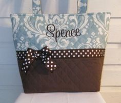 XL Quilted Blue Damask Quilted Purse / Tote / by MsSewItAll32, $45.00