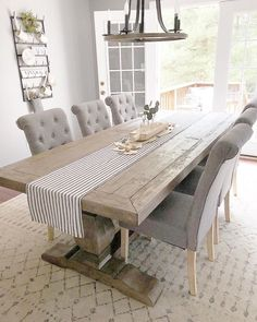 Farmhouse table with French doors in the dining room perfect look for our fixer . Farmhouse table with French doors in the dining room perfect look for our fixer upper Farmhouse Dining Room Table, Dining Room Table Decor, Dining Room Design, Dining Room Furniture, Room Decor, Rustic Table, Shabby Chic Dinning Table, Rustic Farmhouse, Conservatory Dining Room