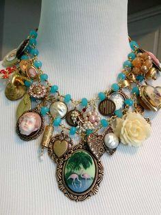 Vintage inspired kitchen sink bib necklace handcrafted by Renee Webb Allen