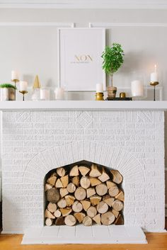 Love the wood filled (non-working) fireplace