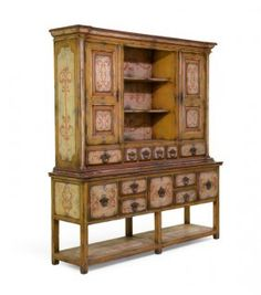 A Venetian Style Decorated Two-part Cabinet
