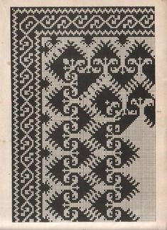 This Pin was discovered by Mar Folk Embroidery, Embroidery Patterns Free, Beaded Embroidery, Cross Stitch Borders, Cross Stitch Designs, Cross Stitch Patterns, Thread Crochet, Filet Crochet, Graph Design