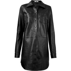 HIDE Stevey Leather Shirt Dress Black ($395) ❤ liked on Polyvore featuring dresses, leather shirt dress, long shirt dress, black leather dress, genuine leather dress and shirt-dress