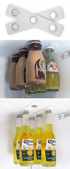 #12. Use magnetic bottle holders to utilize empty air space in your fridge.   11 Brilliant Fridge Organization Ideas
