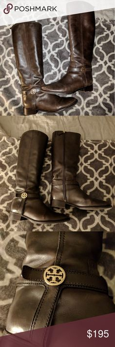Tory Burch Bristol Leather Riding Boots Coconut Good condition. Some wear (pictured), but the soles look great and the leather is so soft and buttery. The Tory Burch logos are not tarnished. Fit like a true 8. Re-poshing because they are a bit big for me (I'm usually a 7.5, but I heard Tory Burch boots run small--not this pair!) Tory Burch Shoes