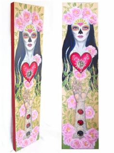"""Saatchi Art Artist Lisa Vollrath; Painting, """"Reina de Corazones"""" mixed media on 48 x 12 x 2 inch pine board, with metal and glass inserts."""