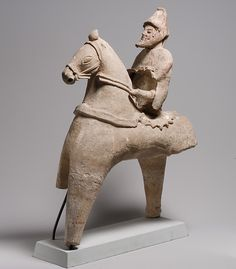 Terracotta statuette of a horse and rider, 5th–4th century B.C. Cypriot. The Metropolitan Museum of Art, New York. The Cesnola Collection, Purchased by subscription, 1874–76 (74.51.1664) #horses