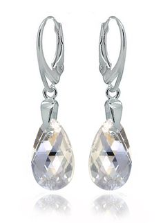 Sterling Silver 925 Drop and Dangle Moonlight Leverback Earrings Dazzling with Swarovski Crystals * Visit the image link more details.