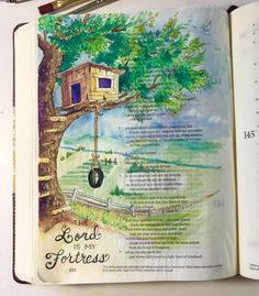Psaume 144 Graceful Palette: The Lord is My Fortress Psalm says He is my. Scripture Art, Bible Art, Bible Scriptures, Bible Drawing, Bible Doodling, Bibel Journal, Bible Study Journal, Art Journaling, Bible Illustrations