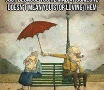 love, old, old couple, argument, mad, rain, umbrella