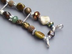 Green, Brown and Silver Beaded Watch Band, Stretchy, Interchangeable | sassylu - Jewelry on ArtFire