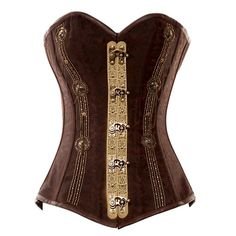 love the metal work!    VG-105 Long Brown Brocade Pattern Steampunk Style Corset with Delicate Detailing - Vintage Goth