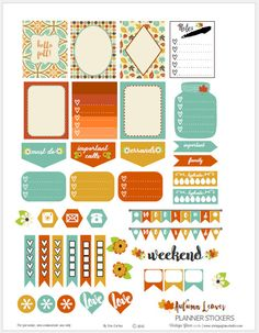 A free printable download of planner stickers in autumn colors for vertical weekly and other types of planners | Vintage Glam Studio
