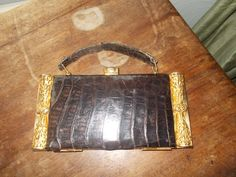 beautiful rare 40's compact purse in crocodile and gilded brass