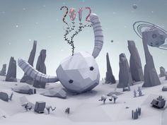 2012 Wallpaper Greetings from Polygon Space! by zerbamine.nl