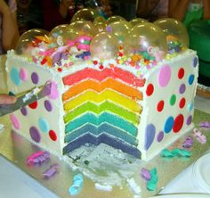 Large Surprise Rainbow Bubbles Cake   3821  Newer Older Inside picture. This cake is seven layers of white chocolate mudcake high and 30 x 30cm big! Covered in white buttercream to hide the suprise of 7 layers of rainbow coloured mudcake. Starting from the top red, orange, yellow, green, blue, indigo and violet. Topped off with gelatine bubbles and fondant and sugar decorations. All edible.
