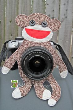 Smile Pal, Smile Buddy, Camera Buddy, Camera Photo Prop,Sock Monkey, Lens Friends, Photography Helper,Lens Accessory Made to Order