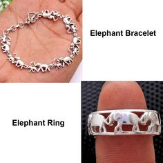 Combo Pack Elephant Design Ring Or Bracelet - 925 Sterling Silver Solid Hand Made Jewelry Ring Size Or Bracelet Length - by arishakreation on Etsy Elephant Ring, Elephant Bracelet, Bracelet Designs, Ring Designs, Elephant Design, Stylish Rings, Sterling Silver Jewelry, Silver Jewellery, Glass Jewelry