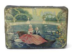 Art Deco Tin Box. Antique Biscuit Tin. Romantic by LeBonheurDuJour