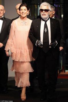 Proud mother: Princess Caroline of Hanover, 61, arrived for the event with designer Karl L...