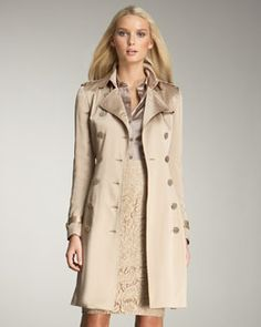 Burberry London Satin Trenchcoat. Also love the blush satin blouse, and the blush lace skirt.