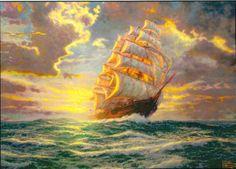 Courageous Voyage. Painted by Thomas Kinkade. http://www.thomaskinkade.com/magi/servlet/com.asucon.ebiz.catalog.web.tk.CatalogServlet?catalogAction=Product&productId=207738&menuNdx=0