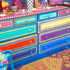 Mexican Painted Tables | Hand Painted Furniture- Dresser With Ten Drawers
