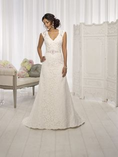 Style D1598- Elegant wedding dress idea - gorgeous Lace over Dolce Satin A Line dress with cap sleeve , V neckline,+ illusion back. See more A-line gowns by @essensedesigns on @weddingwire!