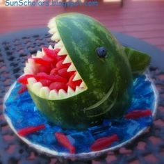 My friend did this for her birthday it was so cool and for the water she covered it in blueberries :)
