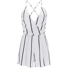 007401bf97d Spaghetti Strap X-Back Striped Romper (105 BRL) ❤ liked on Polyvore  featuring