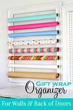 How to make a decorative frame to hold gift wrap on a wall or even can be mounted on the back of a wide door.     #giftwrapstorageidea #organizinggiftwrap Gift Wrap Storage, Wrapping Paper Storage, Craft Storage, Gift Wrapping, Wrapping Ideas, Storage Ideas, Ribbon Storage, Storage Solutions, Ribbon Organization