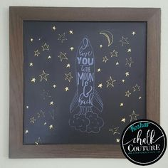 Chalk Couture - Is the transfer smaller than your board?  Use sections over and over to fill space. I Love you to the Moon & Back {Chalk Transfer} (via Erika Koshar) #chalkcouture