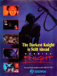 From the Sierra of the past! Horror from yesteryear – Gabriel Knight: Sins of the Fathers Fatal Frame, Knight Games, Fps Games, Classic Video Games, Adventure Games, Dark Knight, Print Ads, Arcade Games, Gabriel