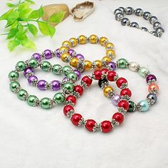 Fashion Glass Pearl Bracelets, with Tibetan Style Bead Caps and Elastic Crystal Thread, Mixed Color, 55mm