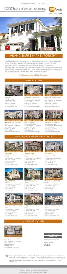 New Homes for Sale in Southern California  Buying New In Southern California - February Edition  Brokers Welcome | Broker Referral Fee varies by community | Bring your clients today!  http://www.tripointehomes.com/southern-california/