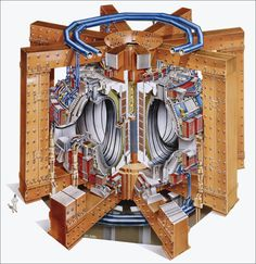 A section through the fusion reactor of the European tokamak Jet project